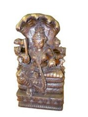 India Hand Carved Wooden Sitting Goddess Parvati on 5 Headed Naga