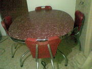 RETRO RED OVAL DINING TABLE