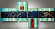 Abstract Digital 4 PCS Oil Paintings on Canvas Buy Online
