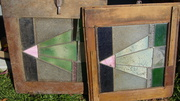 Two Antique leadlight cupboard doors